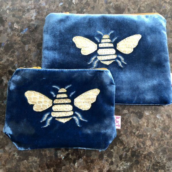 Bee velvet purse - various sizes and colours